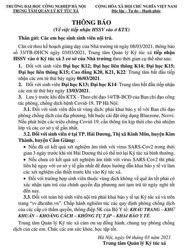 THÔNG BÁO VỀ VIỆC TIẾP NHẬN SV VÀO Ở KTX - THEO KẾ HOẠCH GIẢNG DẠY CỦA NHÀ TRƯỜNG TỪ NGÀY 08/03/2021, THÔNG BÁO SỐ 33/TB-ĐHCN.