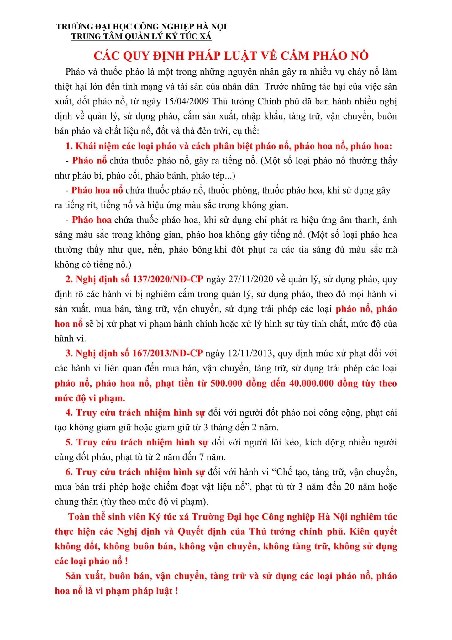 SINH VIÊN TRUNG TÂM QUẢN LÝ KÝ TÚC XÁ KÝ CAM KẾT KHÔNG SỬ DỤNG CÁC LOẠI PHÁO NỔ, PHÁO HOA NỔ TRƯỚC THỀM TẾT NGUYÊN ĐÁN