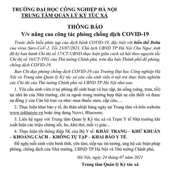THÔNG BÁO VỀ VIỆC NÂNG CAO PHÒNG, CHỐNG DỊCH COVID-19 THEO CHỈ THỊ SỐ 17/CT-UBND CỦA CHỦ TỊCH UBND TP HÀ NỘI.